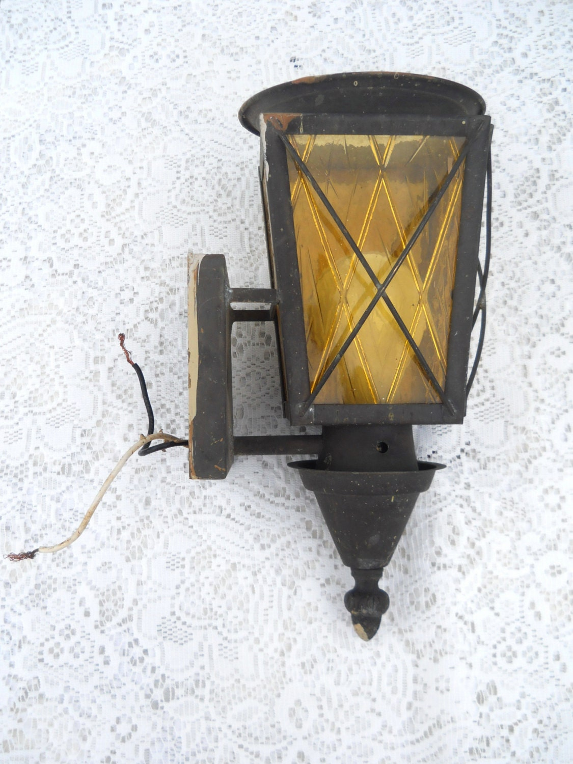 Antique porch light outdoor light outdoor sconce art deco for Art deco porch light