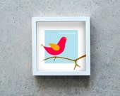 Bird art print, red bird singing poster, beautiful day quote, red, orange, sky blue, brown, home wall art decoration