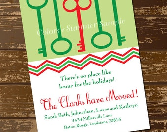 Holiday Moving Announcement, Christmas Moving Card, New Home for the Holidays, Greeting Card, Red and Greek Keys, Printable- Digital File