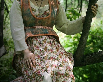 Eco style and boho chic fashion felted vest from natural hand dyed silk and A-Grade wool (with antique lace) OOAK