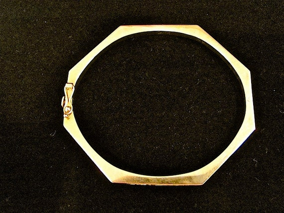 14k Yellow Gold Gold Hinged Octagon Bangle By Irefuse2growup