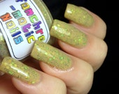 CLEARANCE The Sea of Grass Nail Polish - MINI - very dusty light green with earth-tone glitter