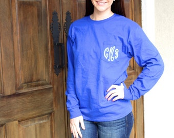 Monogrammed LONG SLEEVE Pocket Tee-Monogrammed shirt, Monogrammed gift, Personalized shirt, Personalized gift, Monogrammed Pocket tee