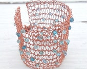 Knitted Wire Bracelet  - Copper Wire with Blue, Turquoise and Aqua Swarovski Crystals, Cuff Bracelet - 'Copper Beach'