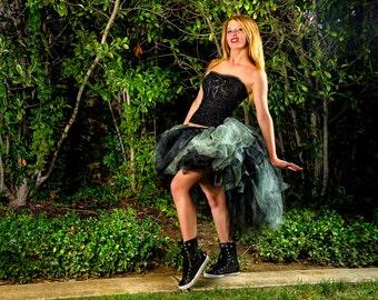 Adult high low tutu tulle skirt for women halloween costume silver and black sports tutu edc edm rave festival wear bustle tutu skirt