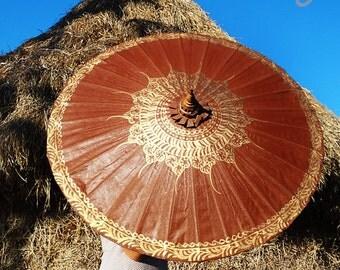 Hand Painted Brown Parasol, Brown Umbrella, Parasol, Umbrella, Parasols, Umbrellas, Wedding Parasol, Waterproof Parasol, Parasol Umbrella