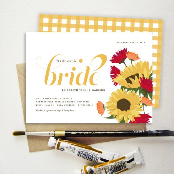tuscan sunflower bridal shower invitation italian flowers