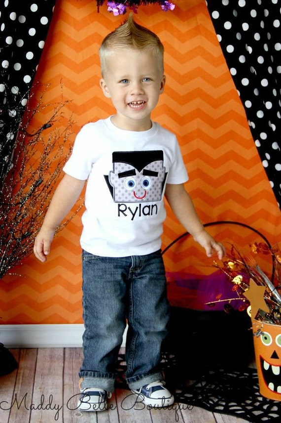 Cute Vampire Children's Halloween Appliqued Shirt - Embroidered Shirt, Halloween, Boys, Girls, Vampire, Personalized Shirt, Dracula Inspired