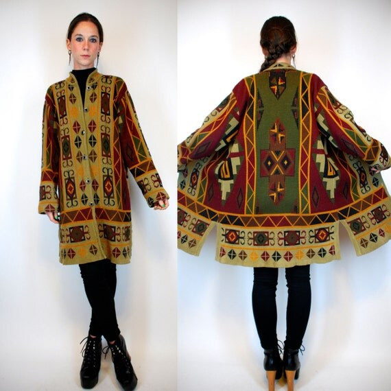 Aztec Sweater Coat Bohemian Southwestern Navajo Duster