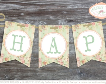 "Printable ""HAPPY BIRTHDAY"" (or ""It's a Girl"") Banner Pennants - Shabby Chic, Vintage, First, Baby, Shower, Girl - PDF File, You Print"