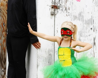 Ninja Turtles inspired costume- tutu dress for Costume Parties  dress with matching mask-Any turtle available