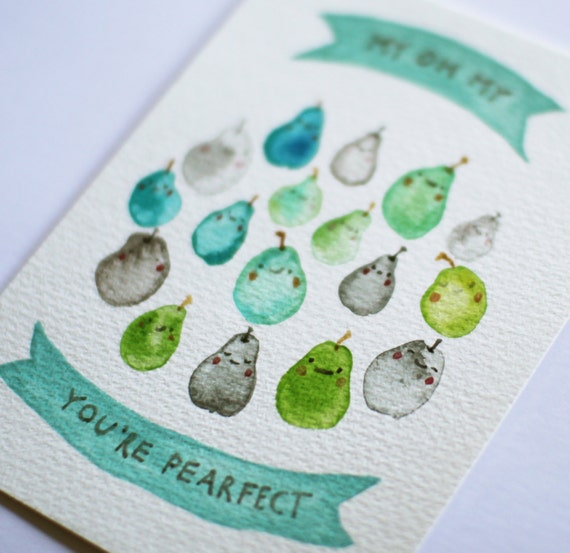 You're Pearfect - Original watercolor painting postcard A6 - Perfect for valentines day gift