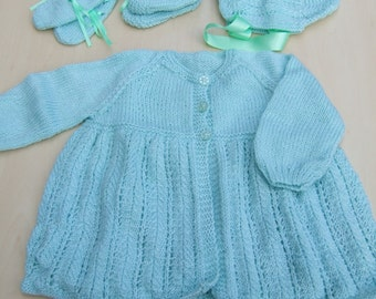 Hand knitted baby matinee cardigan bonnet booties and mittens set in mint green 6 - 12 months