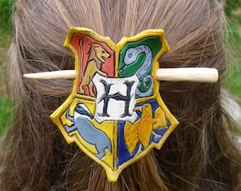 Harry Potter, Hogwarts Inspired Leather Hair Barrette