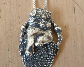 Sterling Silver Kittty Cat in a Basket Scottish Fold Kitten Necklace