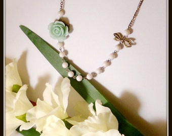 Lovely Vintage Inspired Rose Pearls and Bow Necklace