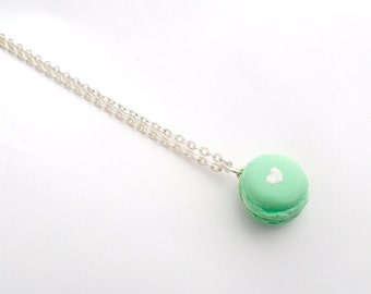 Macaron Necklace, Kitsch Tiny pastel Macaroon, Choice of Sterling Silver Necklace Chain, Lolita, Fairy Kei, Cute And Kawaii :D