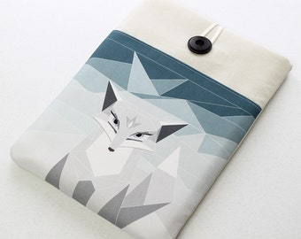 Laptop sleeve, custom sized for any computer, geometry, laptop cover, polar fox, blue case, padded sleeve, 15.6 in, 13.3in, 14in