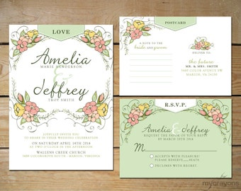 items similar to rustic spring blossom garden wedding invitation diy printable lime