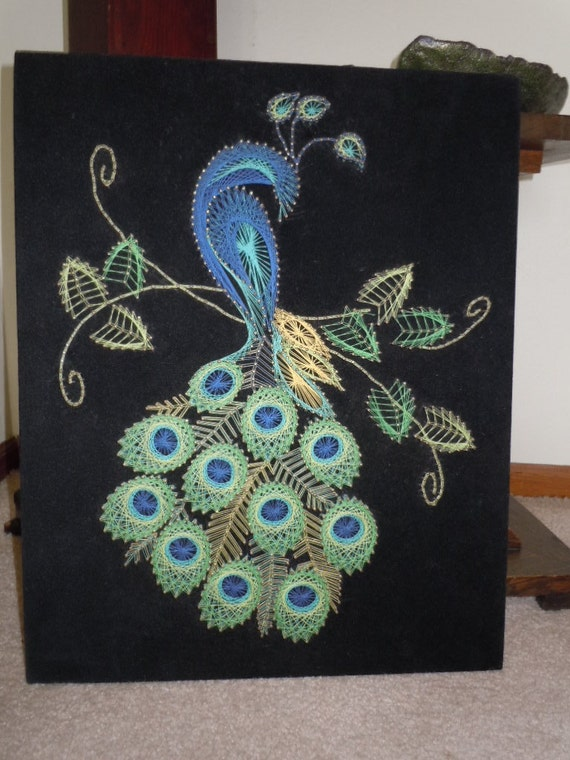 Items similar to vintage peacock string art wall hanging for Wall hanging craft from waste