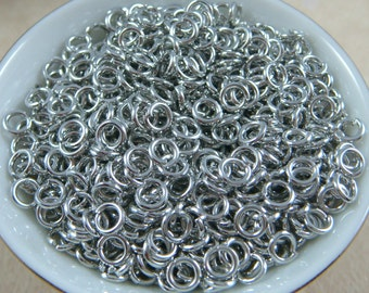 4mm Platinum, Antiqued Silver Jump Rings, 21 gauge Platinum Jump Rings - Select Qty. from Options - (4mm/21g-PL)