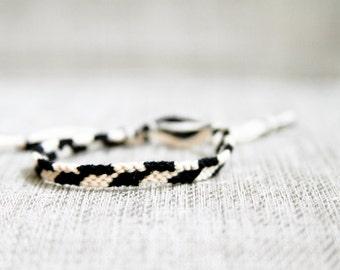 Black and Ivory Asymmetrical Chevron Friendship Bracelet / Stocking Stuffer