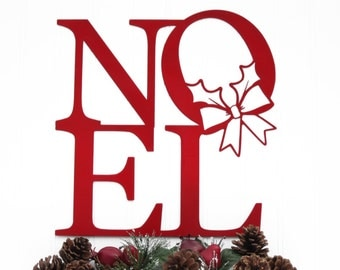 Noel Christmas Metal Sign with Wreath - Red, 12x12.5, Christmas Decor, Decoration de Noel, Christmas, Christmas Signs