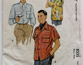 Vintage 1950s Mens Button-Down Shirt Sewing Pattern Size Small McCalls 8335