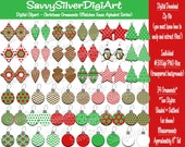 Christmas Digital Clipart -Instant Download, Printable Christmas Ornaments, Red & Green Xmas Clipart -Matches Alphabet Series