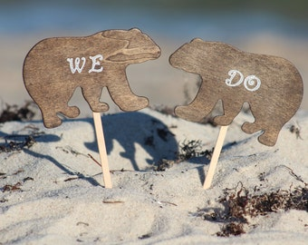 Bear Cake Topper We Do - Mr & Mrs Bear-  Bride and Groom - Rustic Country Chic Wedding