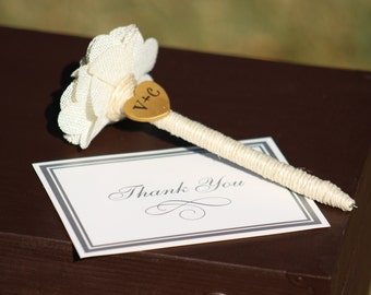 Wedding Guest Book Pen with heart - Decoration - Bridal Shower - Bride and Groom - Rustic Country Chic Wedding