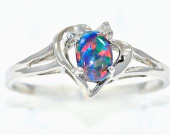 black opal diamond oval heart ring 925 sterling silver rhodium finish - Black Opal Wedding Rings