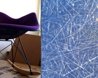 EAMES PURPLE CHAIR Alexander Girard Herman Miller Fabric on Blue Fiberglass Logo Embossed Armshell Rocking Chair Rocker Rare Color Combo