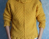 Knitted Sweater - Long sleeved sweater - wool sweater - yellow wool sweater