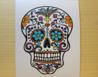 Colorful Flower Skull Sticker, 100% Waterproof Vinyl Sticker, Pop Culture Sticker, 3M Sticker