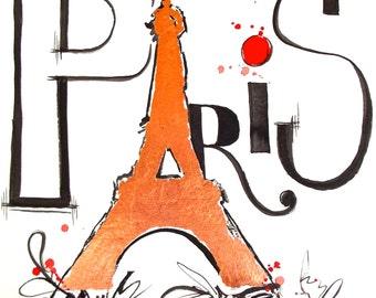 Eiffel Tower Watercolor Paris Original Illustration by Lana Moes