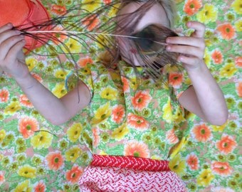 Girls Top/Shirt/Sixties/Flower Vintage Fabric