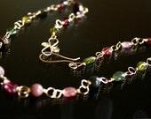 watermelon tourmaline necklace, gemstone necklace, october birth stone jewelry, pink tourmaline, wire wrapped gold necklace