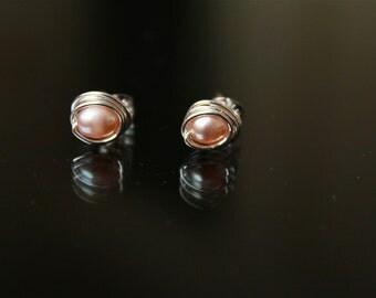 Pearl Stud Ear Rings, sterling silver stud earrings