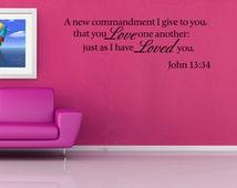 A New Commandment Home Vinyl Wall Decal Bible Verse Art Sticker Decor Quote (V198)