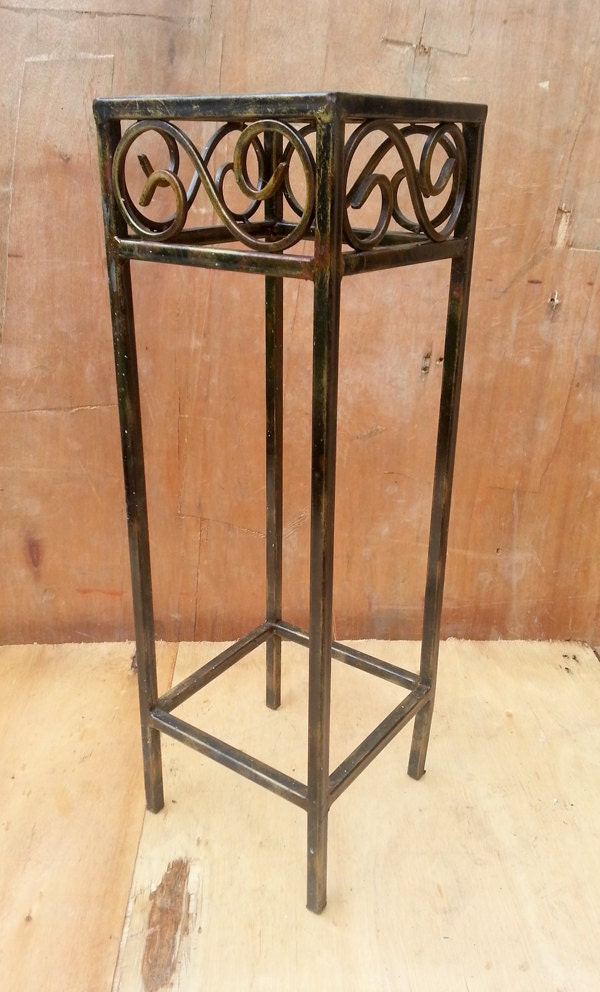 Rustic wrought iron side table bedside table plant for Wrought iron side table