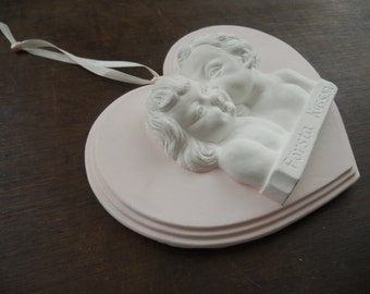 Vintage plaster plaque Heart shape wall decor Love First kiss decor Pink white Wedding decor