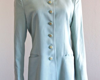 SALE 33% OFF: Mint Green Silk Nehru Jacket by Griffith and Gray 4