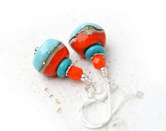Turquoise Blue Glass Earrings/ Orange Lampwork Earrings/ Dangle sterling Earrings/ Boho chick Earrings, Boho style jewelry by MayaHoney