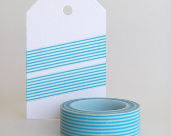 WASHI TAPE, stripes in cyan blue, turquoise