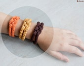 "French knitted cotton bracelet - ""Pumpkin"""