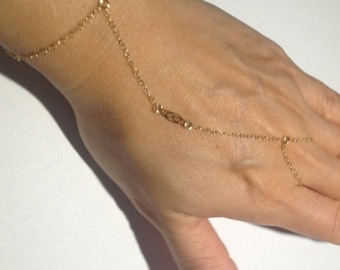 14k Gold Filled Chain Linked Ring Bracelet with Filigree- Hand Jewelry - Hand Flower - Handflower