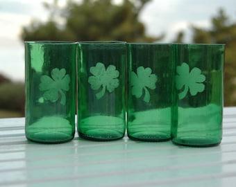 Etched Shamrock Irish Green Beer Bottle Glasses -Set of  2