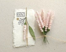 10 Mini Pink Paper Flowers - Wild flowers made of mulberry paper with wire stems - Great for card making, wedding favour & boutonniere [517]