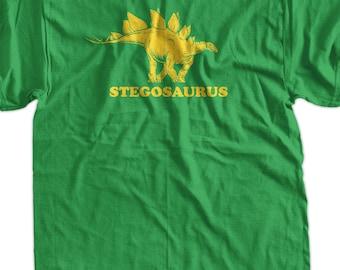 Stegosaurus Dinosaur Screen Printed T-Shirt Tee Shirt T Shirt Mens Ladies Womens Youth Kids Funny Geek